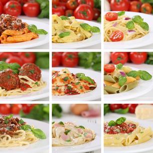 italian food collage spaghetti pasta dishes with tomato food pastaの写真素材 [FYI00630226]