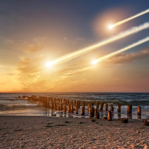 Meteorite impact on a planet in spaceの写真素材 [FYI00630769]