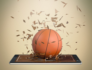 basketball and new communication technologyの写真素材 [FYI00631437]