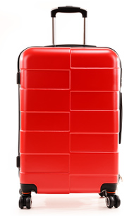Large red travel suitcase isolated on whiteの素材 [FYI00631614]