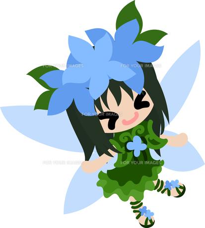花の可愛い妖精のイラストのイラスト素材 [FYI00632883]