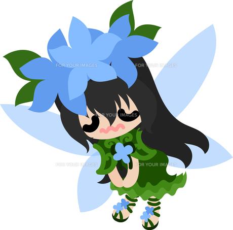 花の可愛い妖精のイラストのイラスト素材 [FYI00632891]