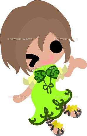 お洒落な服を着た女の子のイラストのイラスト素材 [FYI00633089]