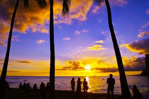 ハワイ ワイキキビーチからの夕日の写真素材 [FYI00633117]