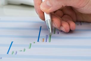 Hand With Pen Over Gantt Diagramの写真素材 [FYI00633970]