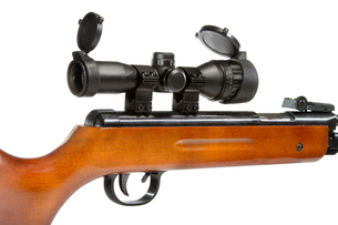 air rifle with a telescopic sight and a wooden buttの写真素材 [FYI00634507]