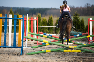 Young woman show jumping with horseの写真素材 [FYI00634549]