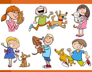 kids with pets cartoon setの写真素材 [FYI00634874]