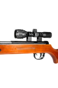 air rifle with a telescopic sight and a wooden buttの写真素材 [FYI00634951]