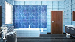 3D interior rendering of a bathroom with furnituresの写真素材 [FYI00635273]