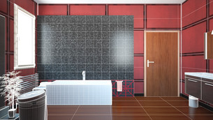 3D interior rendering of a bathroom with furnituresの写真素材 [FYI00635275]