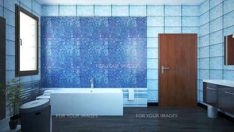 3D interior rendering of a bathroom with furnituresの写真素材 [FYI00635276]
