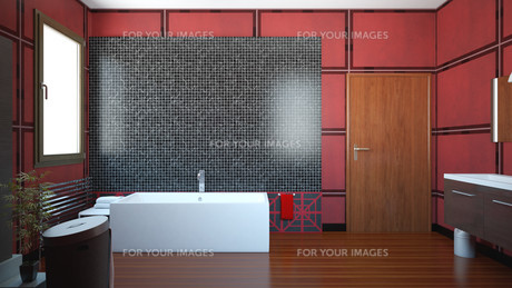 3D interior rendering of a bathroom with furnituresの写真素材 [FYI00635278]