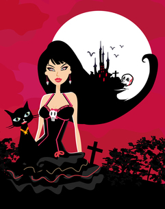 halloween witch and her catの写真素材 [FYI00635549]