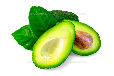 Avocado with leaf and boneの写真素材 [FYI00636005]