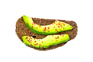 Sandwich with avocado and spices on topの写真素材 [FYI00636059]