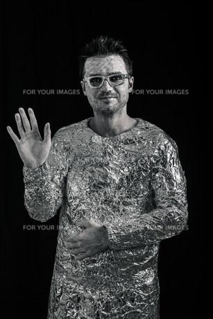 Spaceman greetingの写真素材 [FYI00636115]
