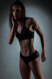 Seductive Gym Fit Woman Wearing Black Underwearの写真素材 [FYI00636158]