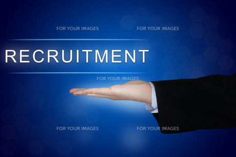 recruitment button on blue backgroundの写真素材 [FYI00636258]