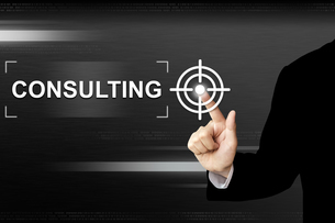business hand pushing consulting button on touch screenの写真素材 [FYI00636263]
