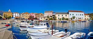 Pictoresque fishermen village of Vinjerac panoramaの写真素材 [FYI00636283]
