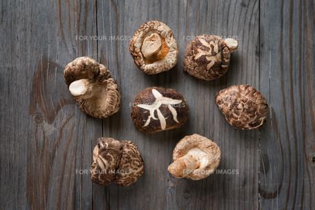 Shiitake mushrooms on wood backgroundの写真素材 [FYI00636469]