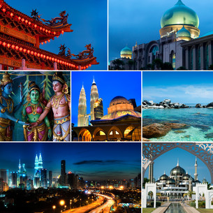Collage of Malaysia imagesの写真素材 [FYI00636492]