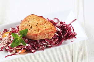 Marinated pork and red cabbageの写真素材 [FYI00636548]