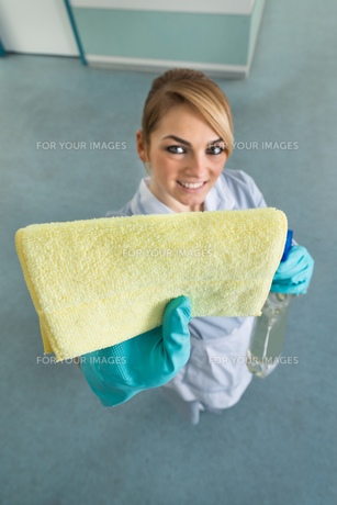 Female Maid Cleaning With Clothの写真素材 [FYI00636743]