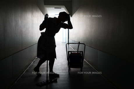Silhouette Of Female Maid With Mopの写真素材 [FYI00636746]