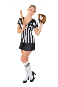 Referee With Baseball Bat And Holding Ballの素材 [FYI00636771]