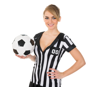 Soccer Referee With Footballの写真素材 [FYI00636781]