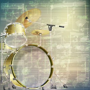 abstract grunge music background with drum kitの写真素材 [FYI00637089]