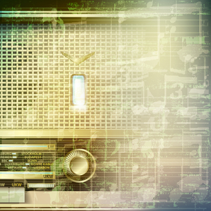 abstract grunge music background with retro radioの写真素材 [FYI00637092]