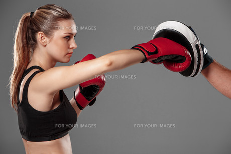beautiful woman is boxing on gray backgroundの写真素材 [FYI00637374]
