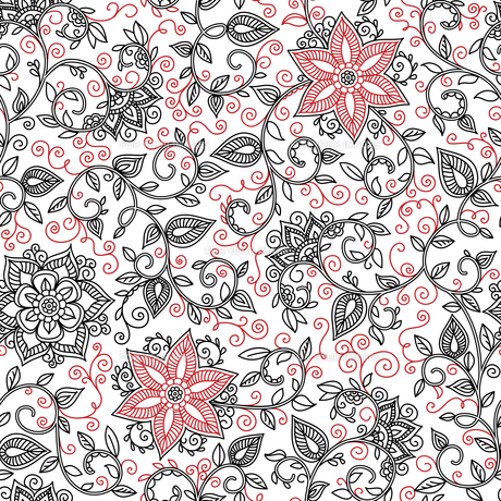 vector seamless black and red floral patternの素材 [FYI00637404]