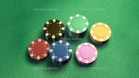 casino chips of 6 colorの素材 [FYI00637691]