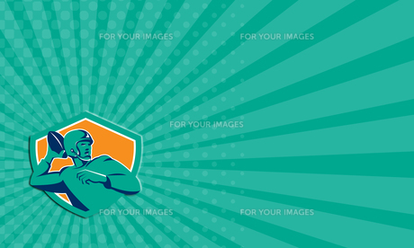 Business card American Football Quarterback QB Shield Retroの写真素材 [FYI00637704]