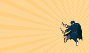 Business card Ninja Masked Warrior Kicking Cartoonの素材 [FYI00637722]