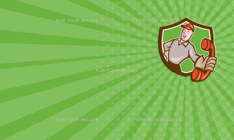 Business card Telephone Repairman Phone Shield Cartoonの写真素材 [FYI00637732]