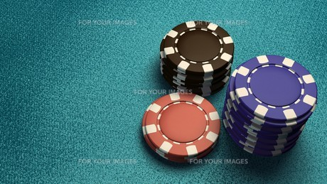 focus of casino chips blue tableの素材 [FYI00638050]