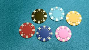 single of 6 casino chips topの写真素材 [FYI00638060]