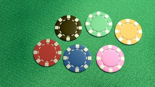 single of 6 casino chips topの写真素材 [FYI00638062]