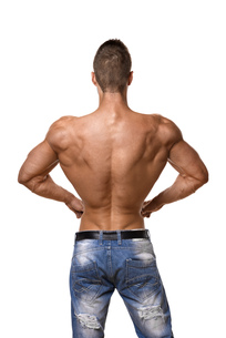 Athlete in denim trousersの写真素材 [FYI00638279]