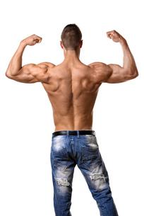 Athlete in denim trousersの写真素材 [FYI00638282]