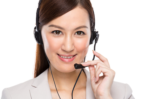 Customer services operator with headsetの写真素材 [FYI00638533]