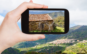 picture of mountain landscape with Savoca villageの写真素材 [FYI00638773]
