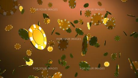 golden casino chips brown backgroundの素材 [FYI00638930]