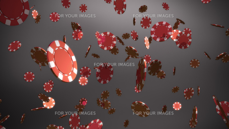 red casino chips grey backgroundの素材 [FYI00638942]