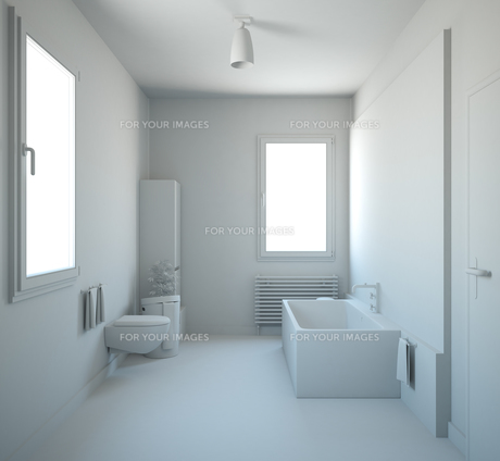 3D interior rendering of a bathroom with furnituresの写真素材 [FYI00639526]